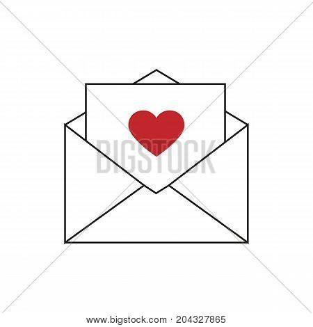 Love letter icon. Letter with heart. Vector stock.