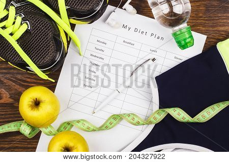 Black Sneakers, Diet Plan And Sport Clothing