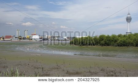 Samut Prakan Tower Sits At River Site Of Chao Phraya River At Amphoe Phra Samut Chedi