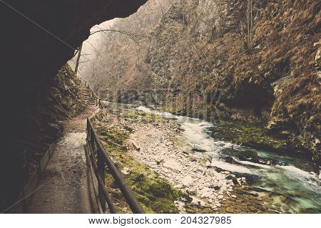 Cliff boardwalk under mountain through rock shore covered in moss and The Radovna river in Vintgar Gorge at Slovenia, Landscape of wooden sidewalk in forest beside stone way and white foaming over green emerald stream water, Clear curve canal flow cut col
