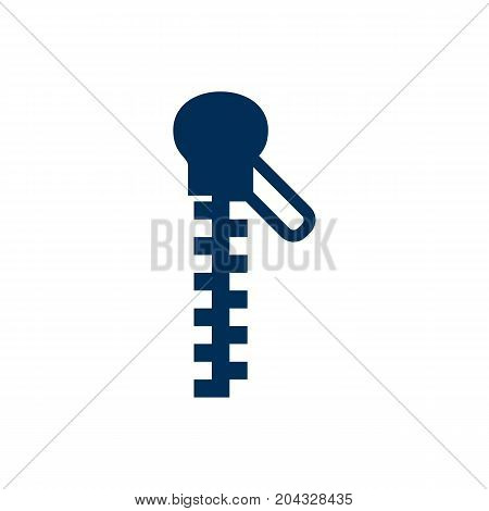 Vector Fastener Element In Trendy Style.  Isolated Zipper Icon Symbol On Clean Background.