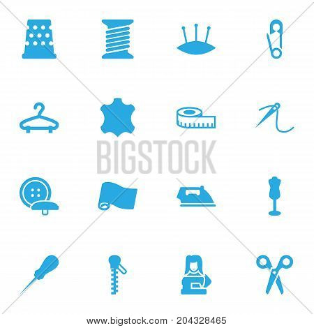 Collection Of Fastener, Pins, Flatiron And Other Elements.  Set Of 16 Tailor Icons Set.