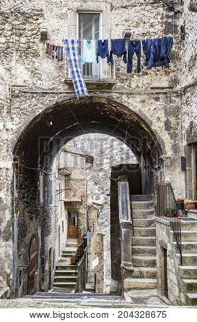 pictorial old streets of Italian villages in Abruzzi Italy