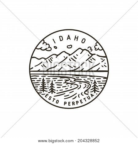 Vintage vector round label. Idaho. Teton river. National Park