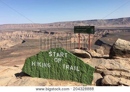Hiking trail in Fish River Canyon National Park in Namibia, Africa