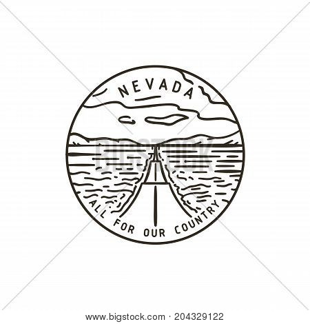 Vintage vector round label. Nevada Road. Desert