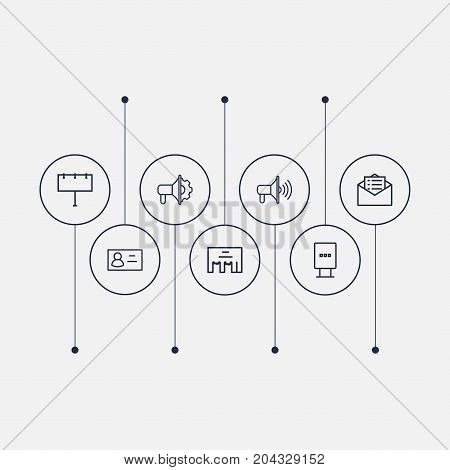 Collection Of Advertising Agency, Direct Message, Email Promotion And Other Elements.  Set Of 7 Advertising Outline Icons Set.