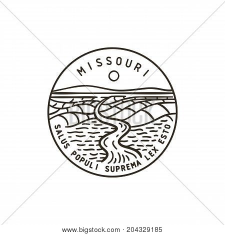 Vintage vector round label. Missouri River. State of Missouri.