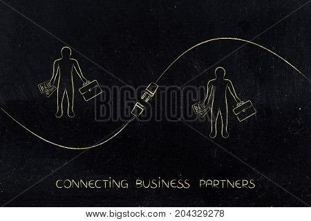 Connecting Business Partners Design With Business Men And Plug
