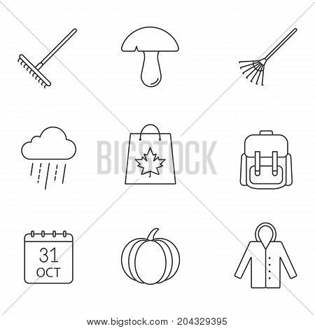 Autumn season linear icons set. Rake, mushroom, rainy cloud, backpack, October 31 calendar, pumpkin, raincoat, autumn shopping. Thin line contour symbols. Isolated vector outline illustrations