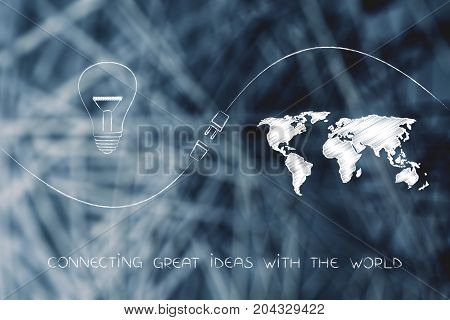 Connecting Ideas And Funds With Lightbulb And Map With Plug In Between