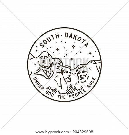 Vintage vector round label. South Dakota. Rushmore