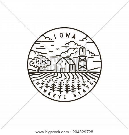 Vintage vector round label. Iowa. Corn field
