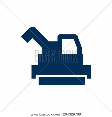 Vector Bulldozer Element In Trendy Style.  Isolated Harvester Icon Symbol On Clean Background.