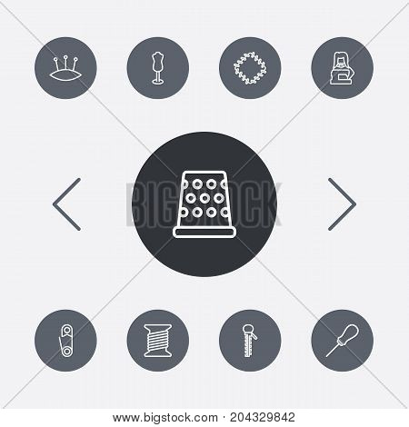 Collection Of Dummy, Pincushion, Tailor And Other Elements.  Set Of 9 Tailor Outline Icons Set.