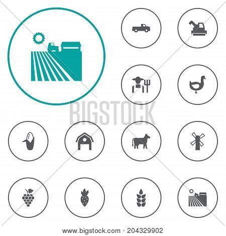 Collection Of Grower, Kine, Pickup And Other Elements.  Set Of 12 Agriculture Icons Set.