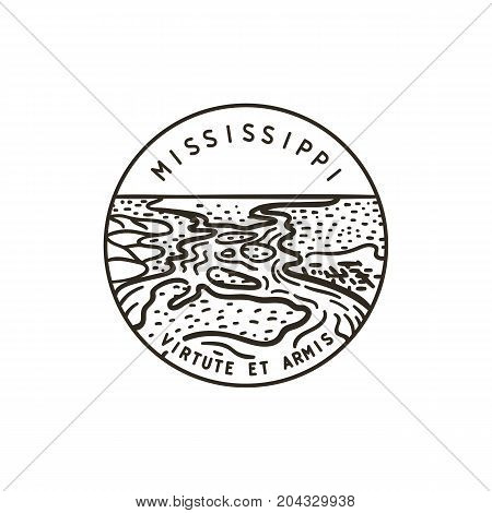 Vintage vector round label. Mississippi River. State of Mississippi.
