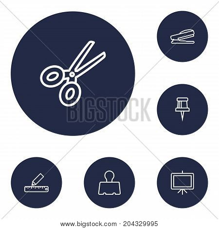 Collection Of Puncher, Pencil, Whiteboard And Other Elements.  Set Of 6 Instruments Outline Icons Set.