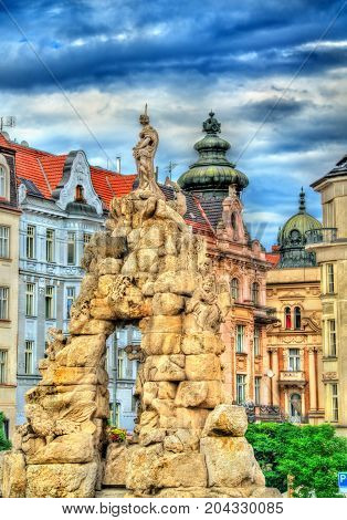 Parnas Fountain on Zerny trh square in the old town of Brno - Moravia, Czech Republic