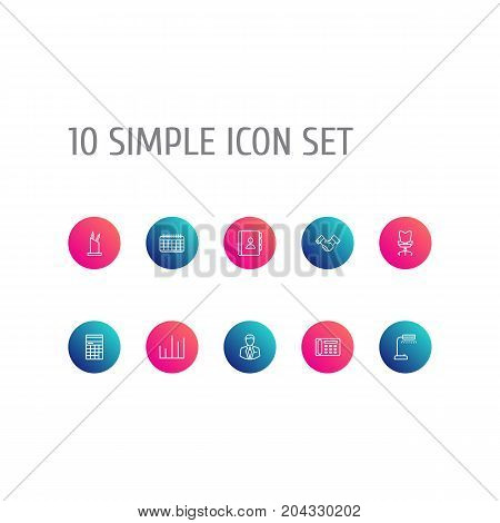 Collection Of Date, Workplace, Contacts And Other Elements.  Set Of 10 Cabinet Outline Icons Set.