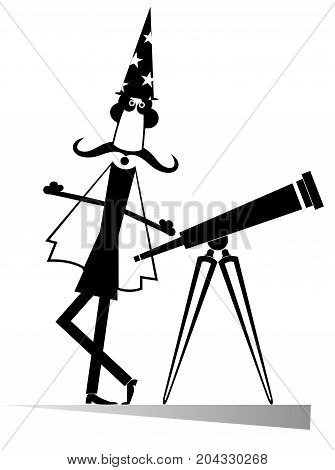 Cartoon stargazer with telescope isolated. Funny astronomer with telescope
