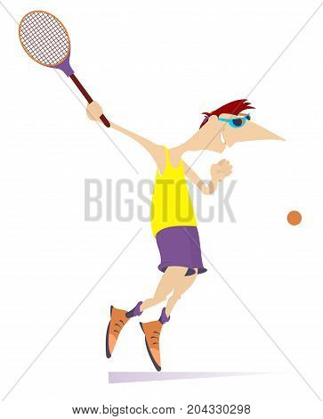 Young man playing tennis isolated. Man with a tennis racket beats a ball