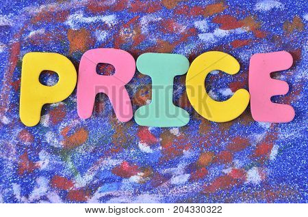 word price on a  abstract col.orful background