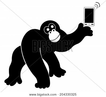 Ape with smart phone isolated. Monkey with smart phone silhouette