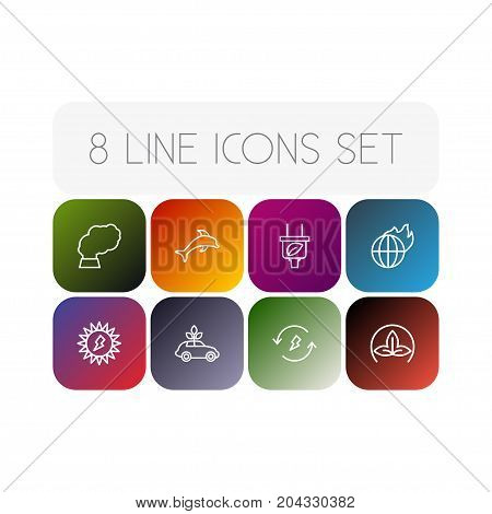 Collection Of Dolphin, Global Warming, Renewable Energy And Other Elements.  Set Of 8 Bio Outline Icons Set.