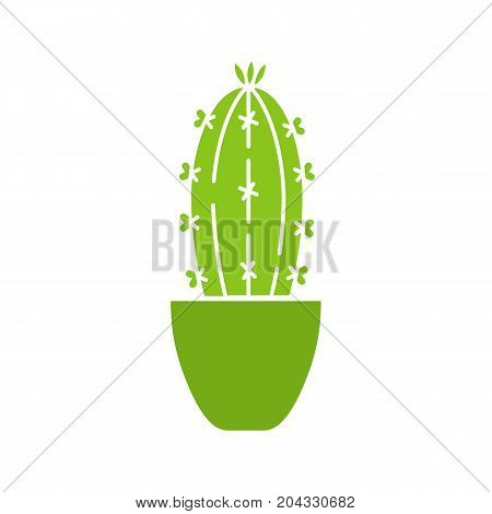 Cactus in flowerpot glyph color icon. Succulent. Silhouette symbol on white background. Negative space. Vector illustration