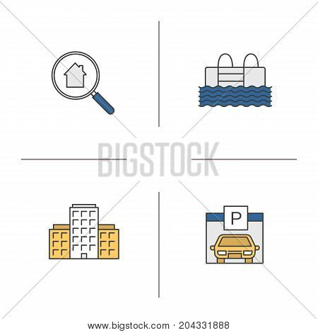 Real estate color icons set. Multi-storey building, swimming pool, parking place, real estate search. Isolated vector illustrations