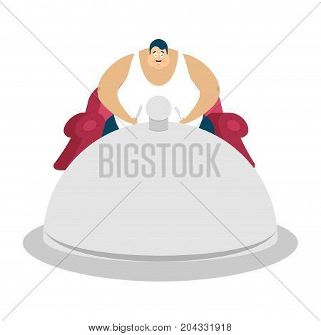 Fat Guy Is Sitting On Chair And Dish Tray. Glutton Thick Man And Food. Gluttony Vector Illustration