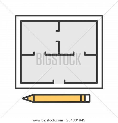 Floor plan color icon. Flat blueprint with pencil. Apartment layout. House engineering. Isolated vector illustration