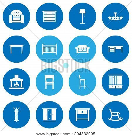 Collection Of Cupboard, Cot, Wardrobe And Other Elements.  Set Of 16 Situation Icons Set.