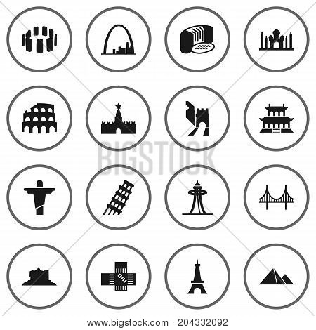 Collection Of Moscow, Paris, Great Pyramid And Other Elements.  Set Of 16 Monument Icons Set.