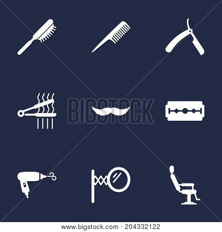 Collection Of Whiskers, Blow-Dryer, Looking-Glass And Other Elements.  Set Of 9 Barbershop Icons Set.