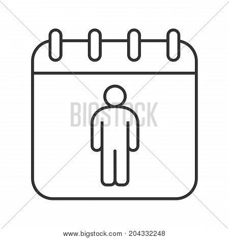 International Men's Day linear icon. Thin line illustration. Calendar page with man. Contour symbol. Vector isolated outline drawing