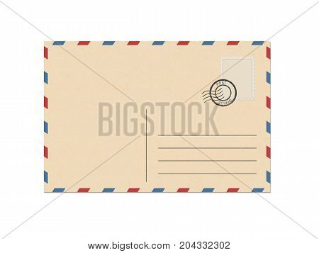 Vintage envelope air mail. Isolated vector illustration on white background.