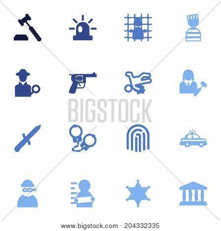Collection Of Suspicious, Lawyer, Police Car And Other Elements.  Set Of 16 Crime Icons Set.