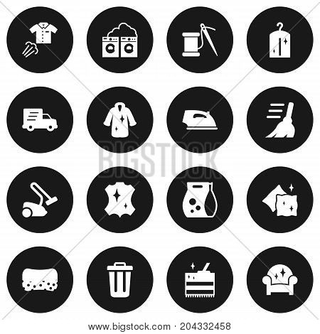 Collection Of Sewing, Wisp, Garbage Container And Other Elements.  Set Of 16 Harvesting Icons Set.