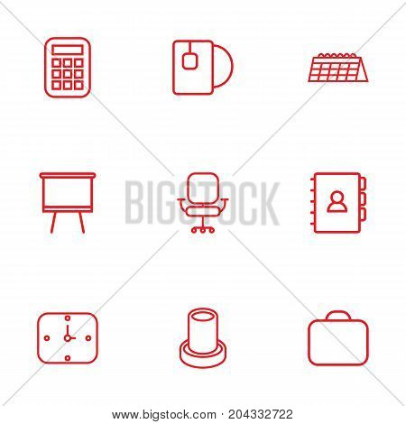 Collection Of Briefcase, Calculator, Board Stand Elements.  Set Of 9 Office Outline Icons Set.