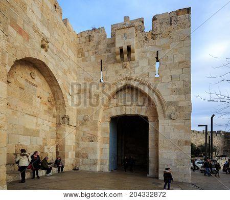 Jerusalem, Israel - Feb 04, 2017: The People Near Jaffa Gate