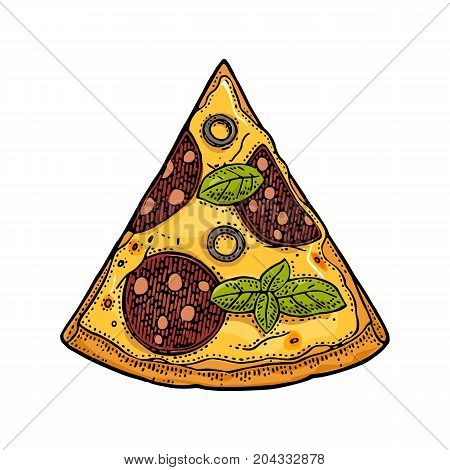 Slice pizza pepperoni. Top view. Vintage vector color and black drawn engraving illustration for poster menu box. Isolated on white background