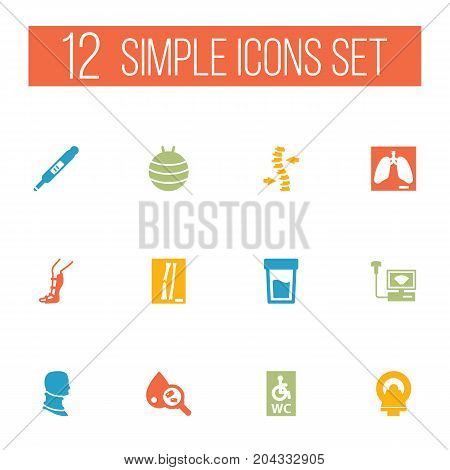 Collection Of Broken Neck, Lung, Urine Tester And Other Elements.  Set Of 12 Medical Icons Set.