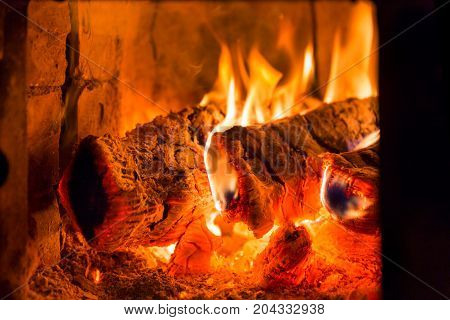 Fire And Coals In Fireplace Furnace