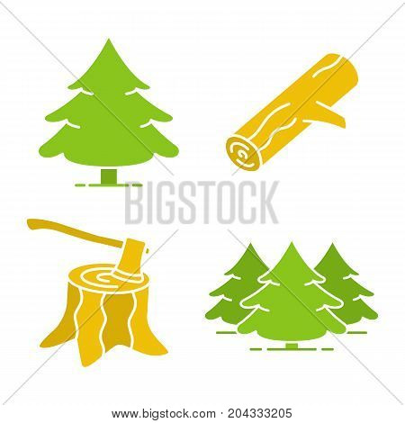 Forestry glyph color icon set. Fir forest, firewood, stump with axe. Silhouette symbols on black backgrounds.