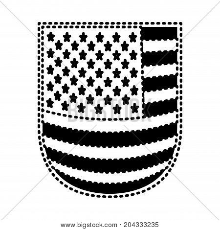 shield with flag united states of america black silhouette on white background vector illustration