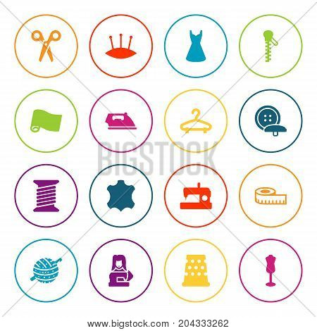 Collection Of Seamstress, Machine, Tailor And Other Elements.  Set Of 16 Sewing Icons Set.