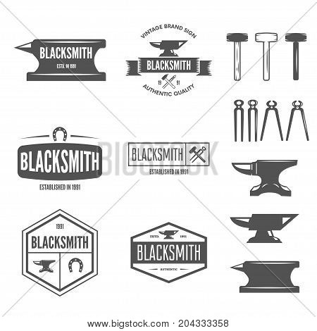 Set of vector elements, labels, badges and silhouettes for blacksmith