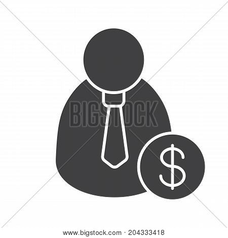 Staff hiring glyph icon. Employer silhouette symbol. Man with dollar sign. Negative space. Vector isolated illustration